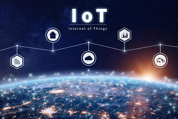 Internet of Things technology with connected IoT network around Earth